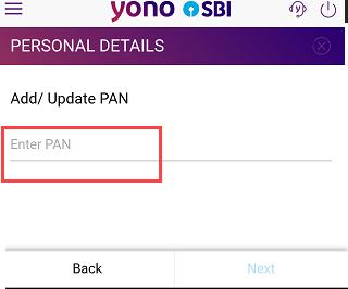 SBI Link add Pan card