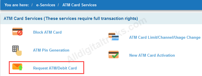apply online sbi atm debit card