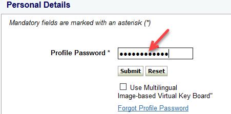 onlinesbi enter profile password
