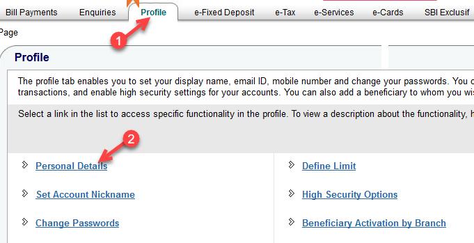 onlinesbi profile tab