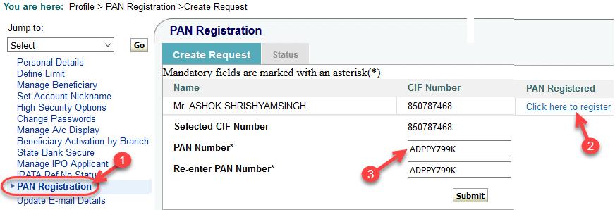 onlinesbi register pan card