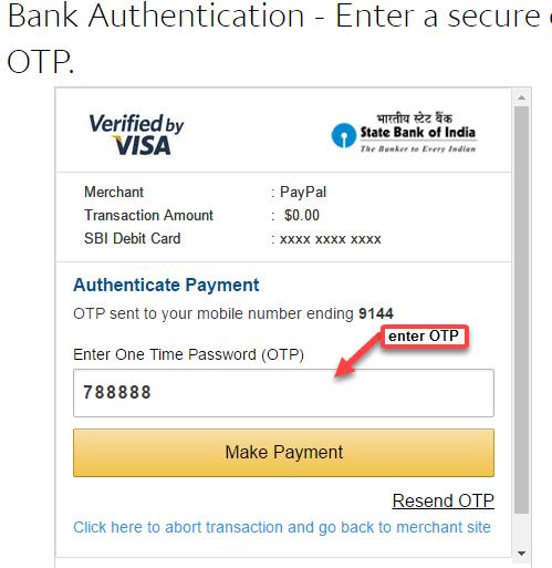 paypal link sbi debit card