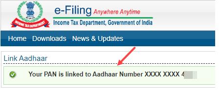 Aadhaar Pan Link Status