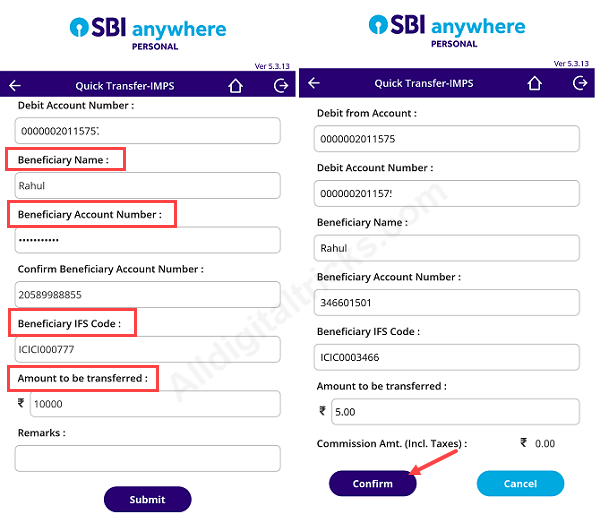 SBI Quick transfer send money without add beneficiary