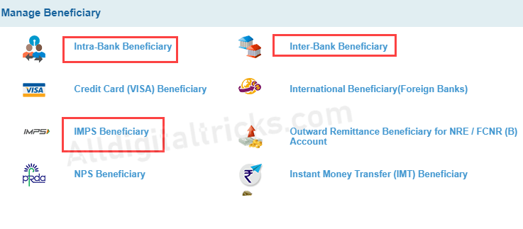 SBI Net Banking add beneficiary