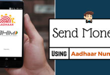BHIM send Money aadhaar card