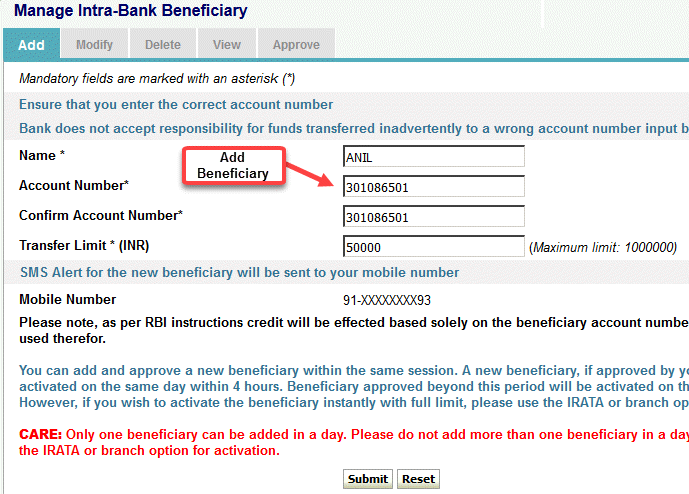 sbi to sbi money transfer through net banking