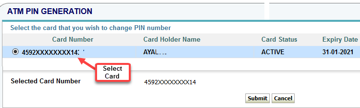 sbi card pin generate