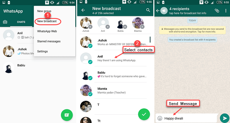 whatsapp broadcast messege