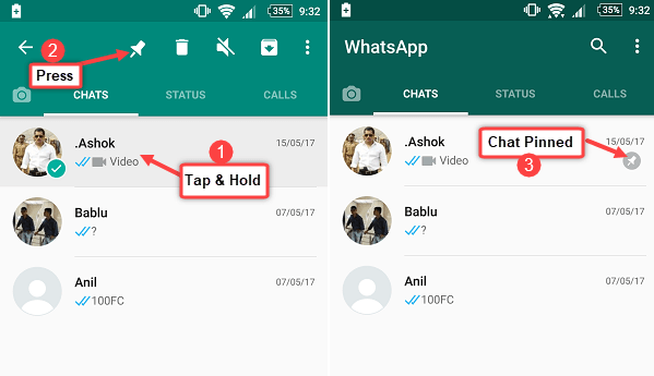 whatsapp pin chat