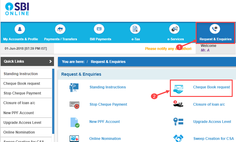SBI Cheque book request online