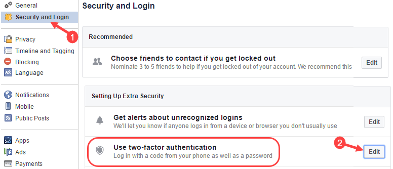 facebook two factor verification