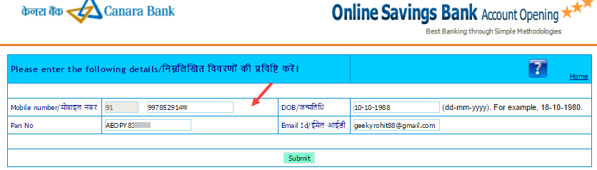 apply online canara bank account