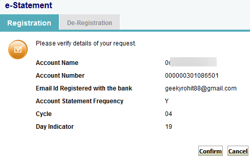 SBI e statement registration
