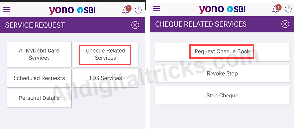SBI YONO Request Cheque Book