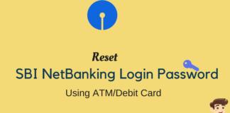 reset sbi login password using atm card