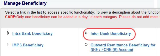 sbi ad interbank beenficiary