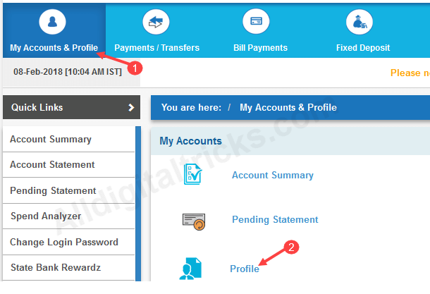 change/update sbi registered mobile number online