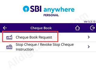 SBI Anywhere Cheque Book Request