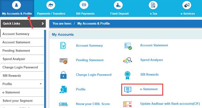 SBI e-statement register