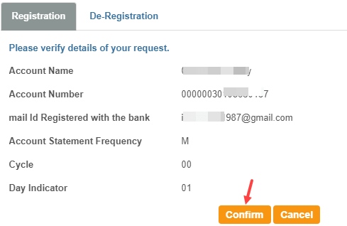 SBI e-statement register