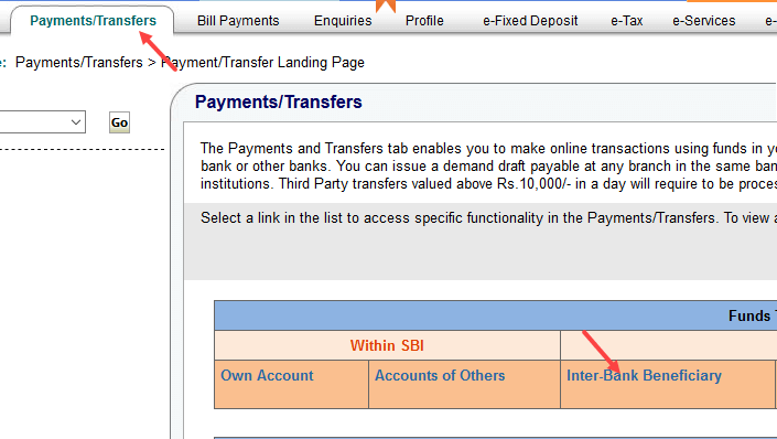 sbi inter bank transfer