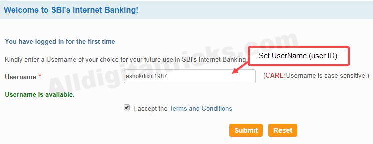 first time login to sbi net banking