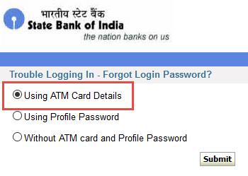 sbi netbanking password reset using atm card