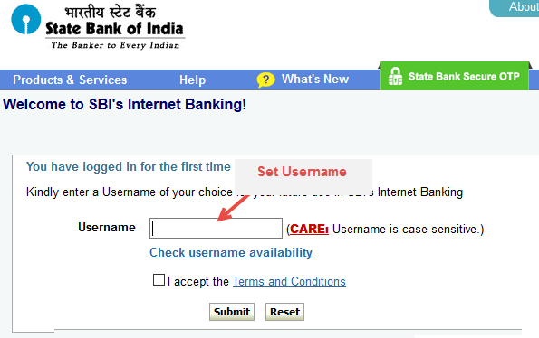 first time login sbi net banking