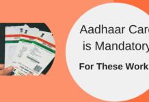 aadhaar card is mandatory for these work