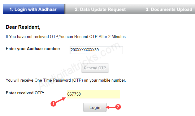 Aadhaar card Address update online