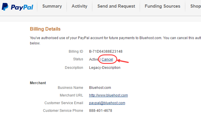 cancel paypal-pre-approved-payment
