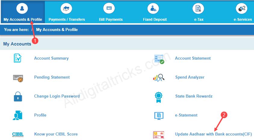 link aadhaar sbi net banking
