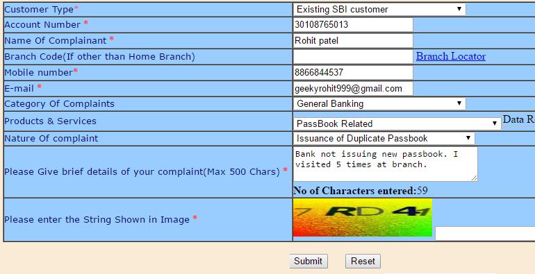 sbi complaint online