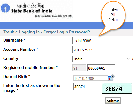 reset login password sbi netbanking