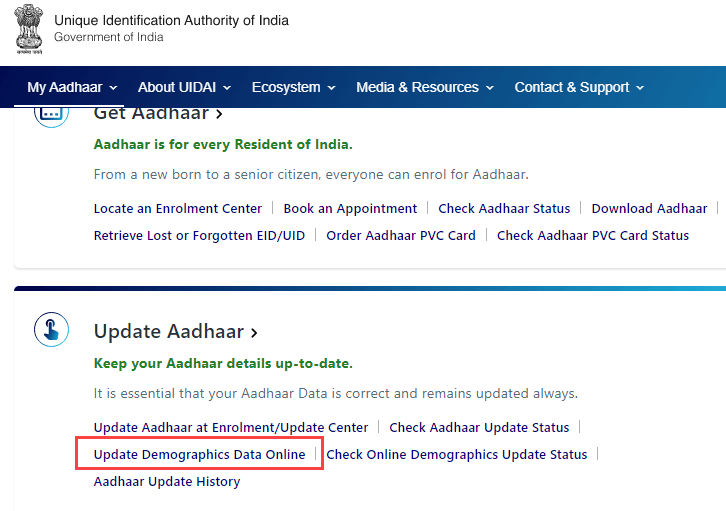 update Aadhaar Card Online