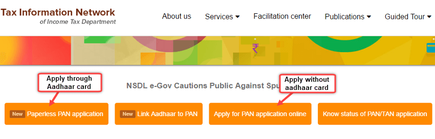 official website for apply pan card