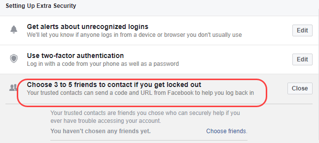 facebook trusted friends lockout