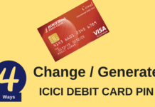 icici bank debit card pin change online