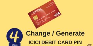 icici debit card pin change online