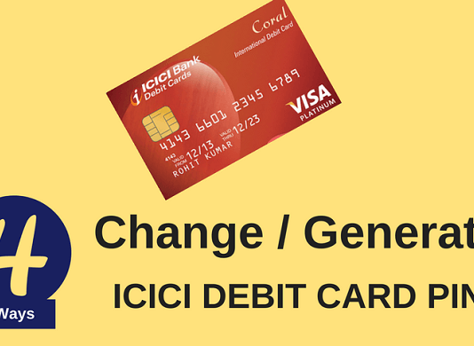 icici debit card pin change online