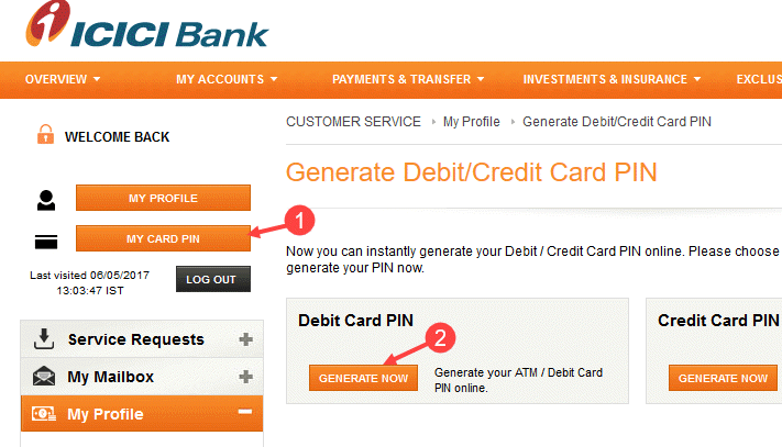 icici customer care debit card activation