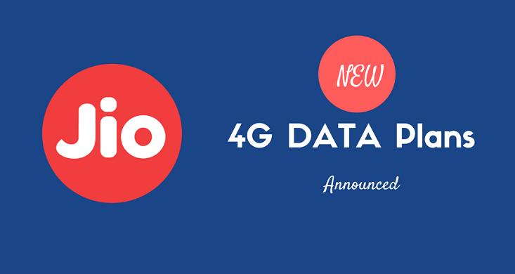 jio latest 4g Data plans