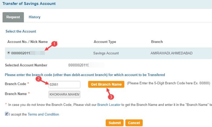 Transfer SBI account to another branch