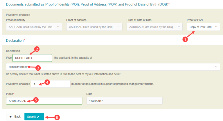 how to changecorrect name in pan card online