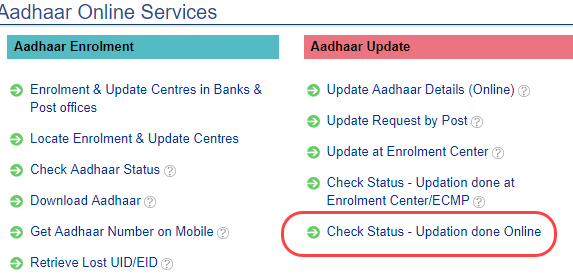 Aadhaar update status check online