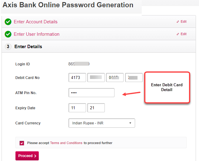 axis bank internet banking password