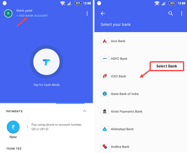 Google Tez add bank account