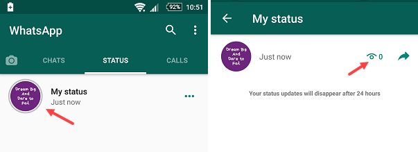 whatsapp text only status