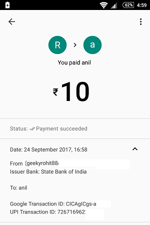 google tez send money bank account